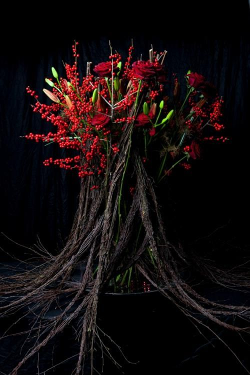 Dramatic red Christmas of berries, lilies and branches ~ by Victoria Richards