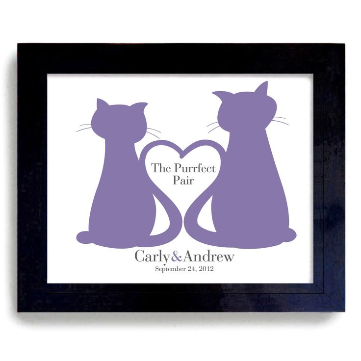 Unique Wedding Cats Gift Personalized Art for Cat Lovers. $38.00, via Etsy.