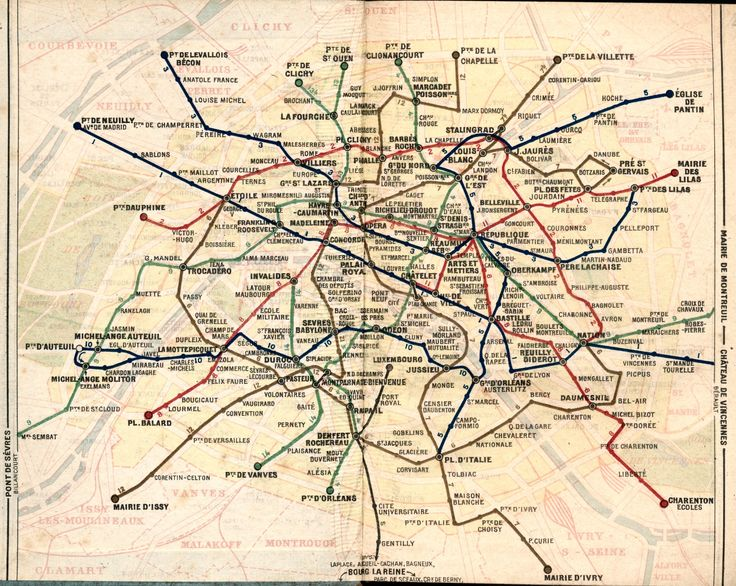 Map of Paris Metro 1949