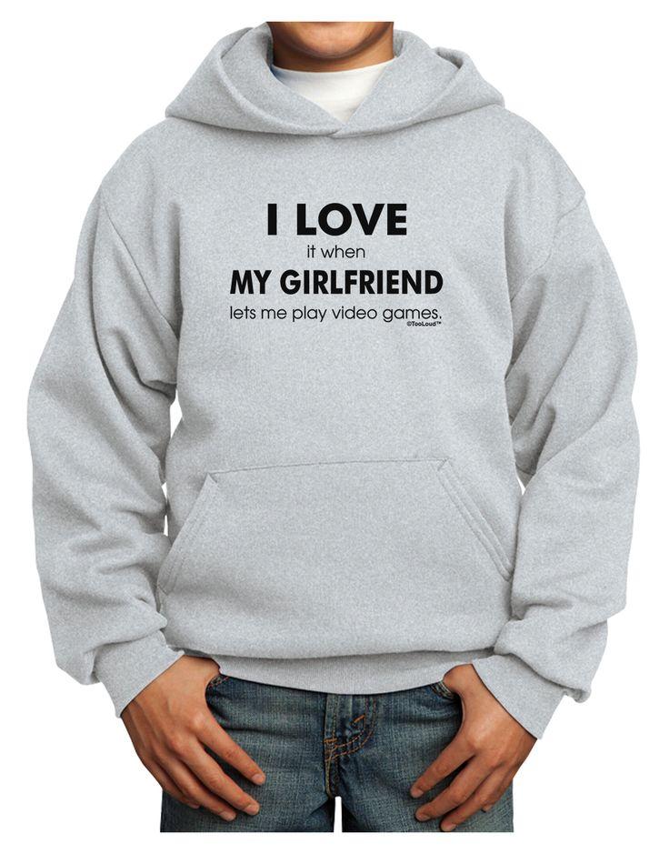 TooLoud I Love My Girlfriend Videogames Youth Hoodie Pullover Sweatshirt