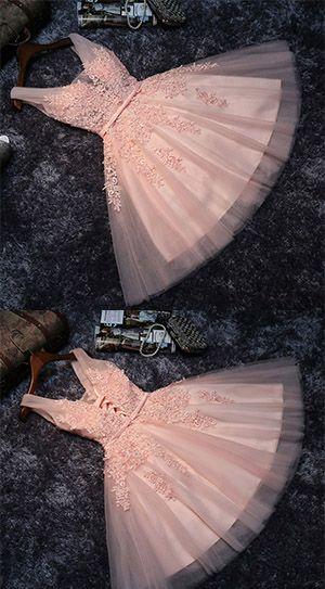 Princess Lace Appliqued Homecoming Dress,Tulle Homecoming Dress,Blush Pink Short Bridesmaid Dresses,Short Prom Dress,Short Graduation Dress,Mini Dresses