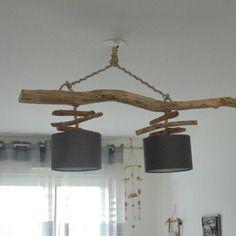 Lustre/plafonnier en bois flotté - création unique - double suspension - led