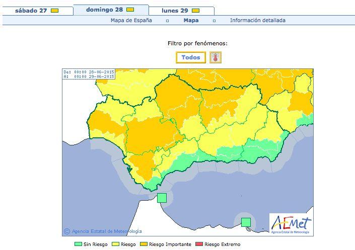 El aviso por máximas de hasta 42 grados, activo, por lo menos, hasta el lunes