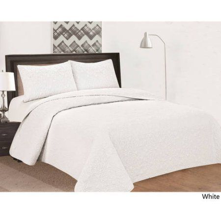 Oversized 3-Piece Bedspread Set with Medallion Pattern-white-Californian King, White
