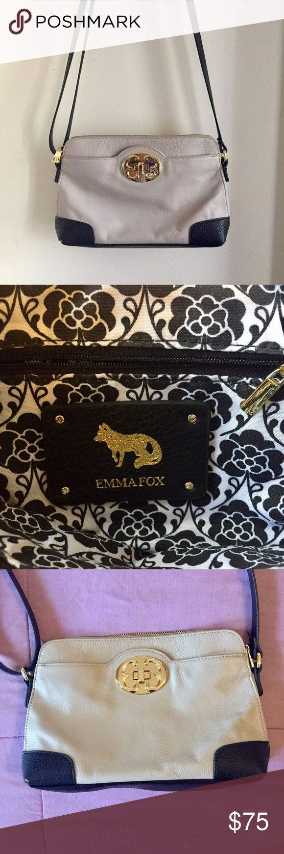 Emma Fox Leather Cross-body Handbag Tan and black leather cross body bag with gold buckle and patterned interior. Several pockets inside and outside. Adjustable strap Emma Fox Bags Crossbody Bags