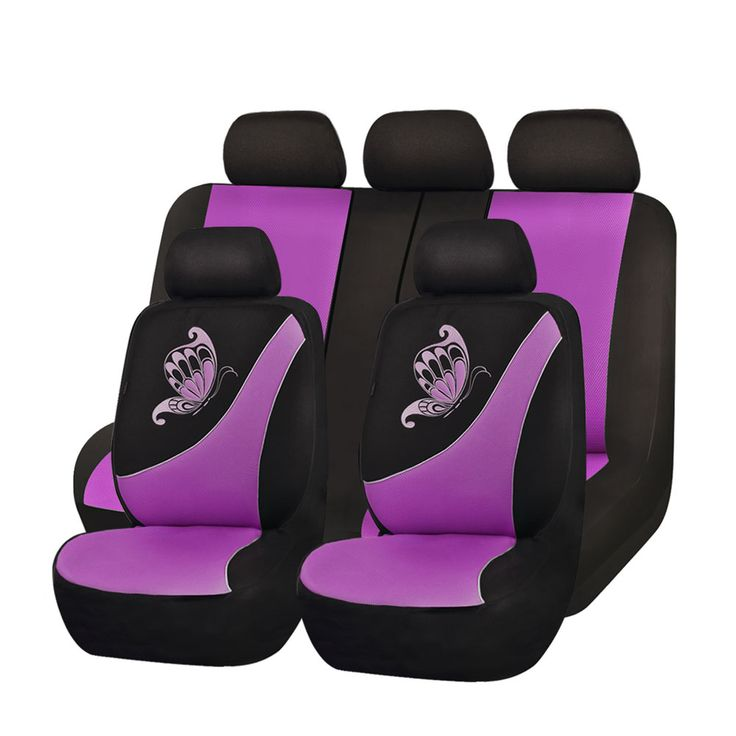 Flying Banner Universal Fit Full Set Mesh Cloth Fabric Car Seat Cover With Butterfly Embroidery Pink And Black