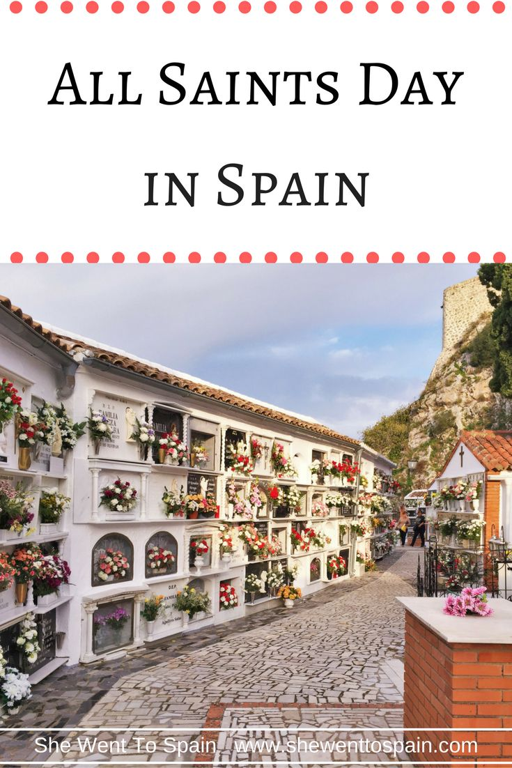 All Saints Day in Spain is one of the most important religious holidays for the Spanish people, where you can see elaborate floral displays in cemeteries.