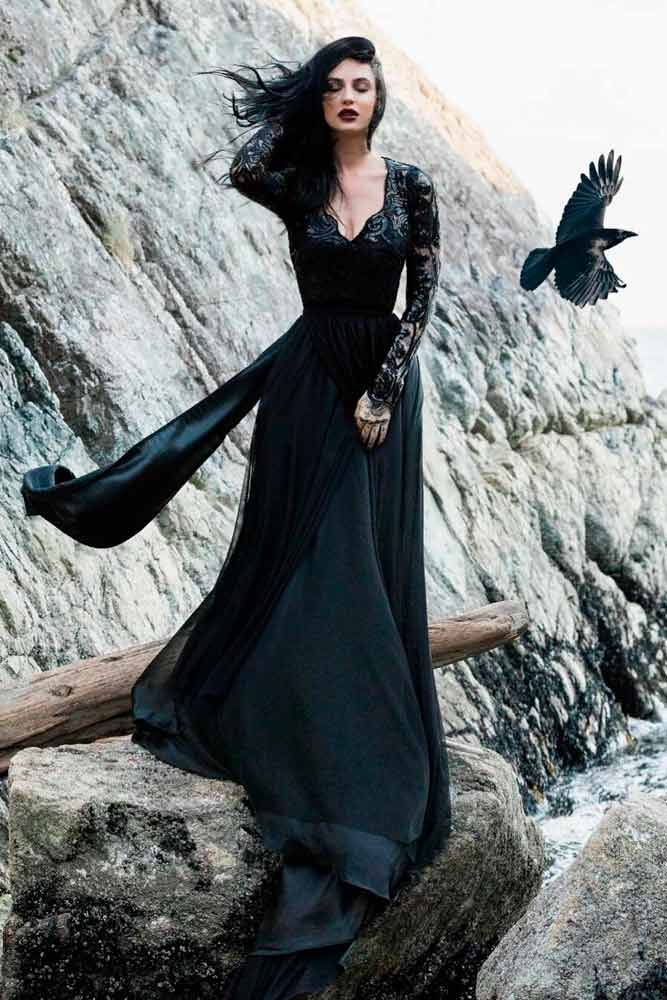 27 Fantastic Black Wedding Dresses To Fall In Love With Black Wedding Gowns Black Lace Wedding Dress Black Wedding Dress Gothic