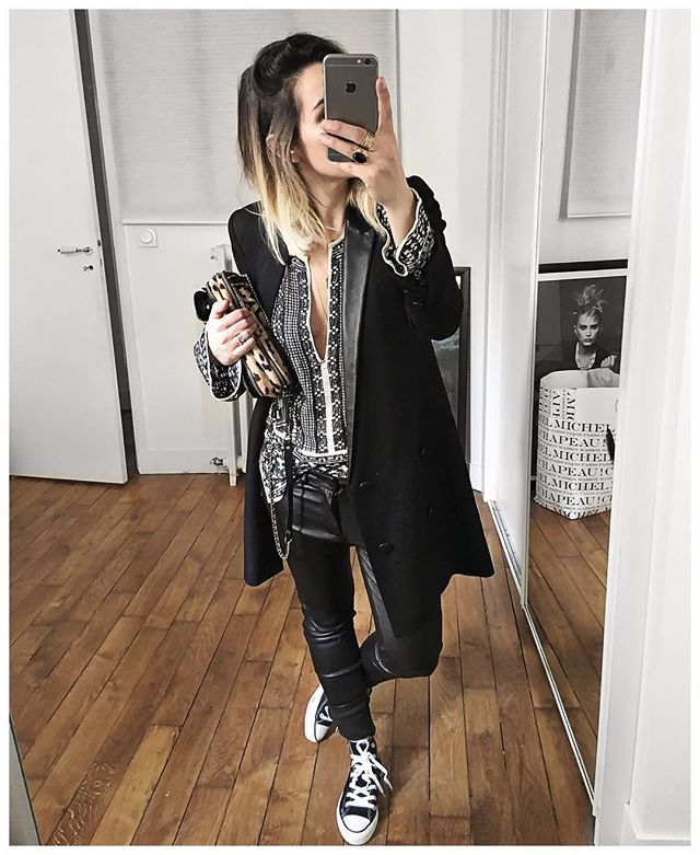 Sous le manteau : noir et léopard! • Jacket #thekooples (old) • Top #isabelmarant (from @vestiaireco) • Leather Pant #reiko (from @reikojeans) • Sneakers #converse (from @converse) • Bag #jeromedreyfuss (old but available on @lagrandeboutiquelgb) ...