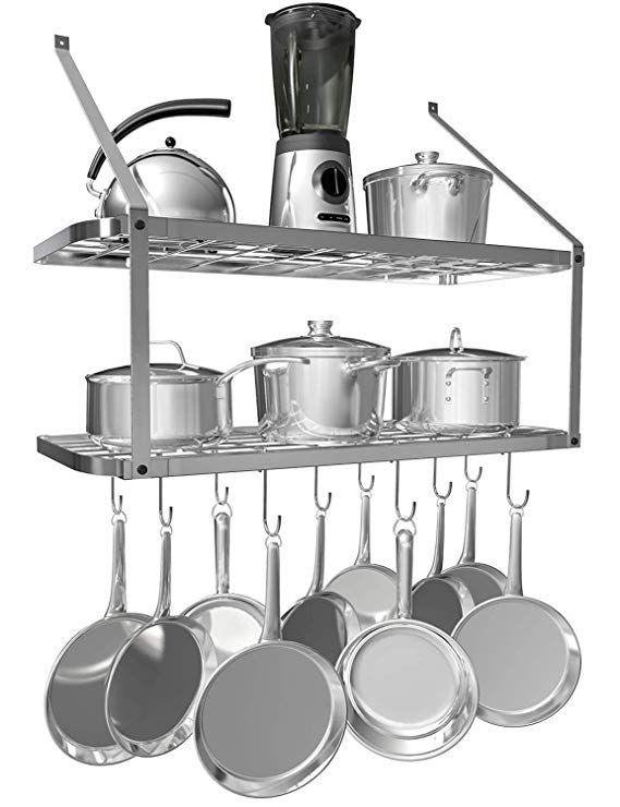 Amazon Com Vdomus Shelf Pot Rack Wall Mounted Pan Hanging Racks 2