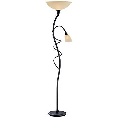 Lite source wavia torchiere floor lamp with reading light
