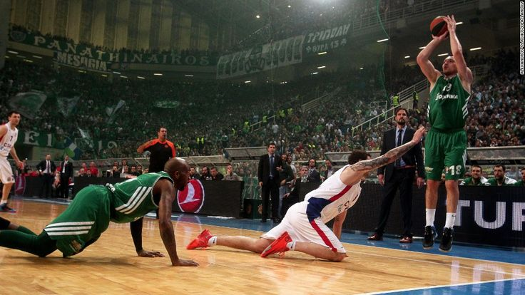 Jonas Maciulis fires a jump shot for Greek basketball team Panathinaikos during their Euroleague playoff game against CSKA Moscow on Wednesday, April 23, 2014 in Athens, Greece. Panathinaikos won the game in overtime but lost the quarterfinal series.