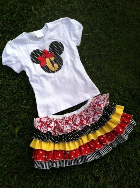 Hey, I found this really awesome Etsy listing at http://www.etsy.com/listing/168509781/minnie-mouse-ruffle-skirt-and-matching-t