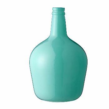 Bloomingville Aquamarine Glass Vase: Beautiful aquamarine coloured glass vase with bottle neck from Danish home furnishings brand Bloomingville.