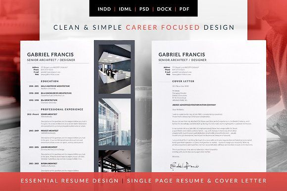 Abby Resume CV Template Word Photoshop InDesign CV Pinterest - senior architect resume