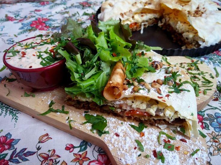 Pastilla met gehakt, feta en aubergine