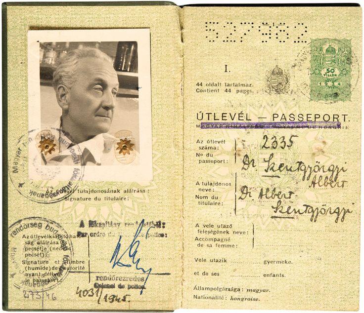 Szent-Györgyi Albert (1893–1986) Nobel-díjas és Kossuth-díjas magyar orvos, biokémikus útlevele, melyet 1945 és 1947 között használt. | axioart.com