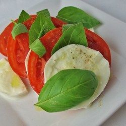 Insalata Caprese II Allrecipes.com  -  tomatoes, mozza cheese, fresh basil, olive oil, salt pepper.  simple salad, use fresh, quality ingredients.  want, healthy.   lj