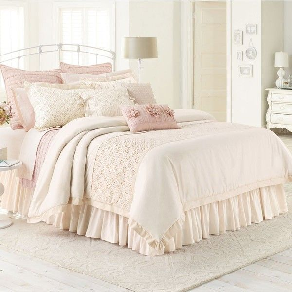 LC Lauren Conrad Jolie Comforter Set, White, Women's found on Polyvore featuring polyvore, home, bed & bath, bedding, comforters, white, twin xl comforter set, white king comforter set, twin comforter and white king shams