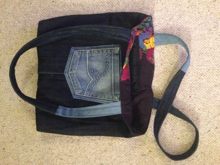 Denim and frock refashioned into tote bag