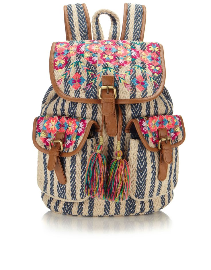Cara Tassel Woven Stripe Backpack | Multi | Accessorize
