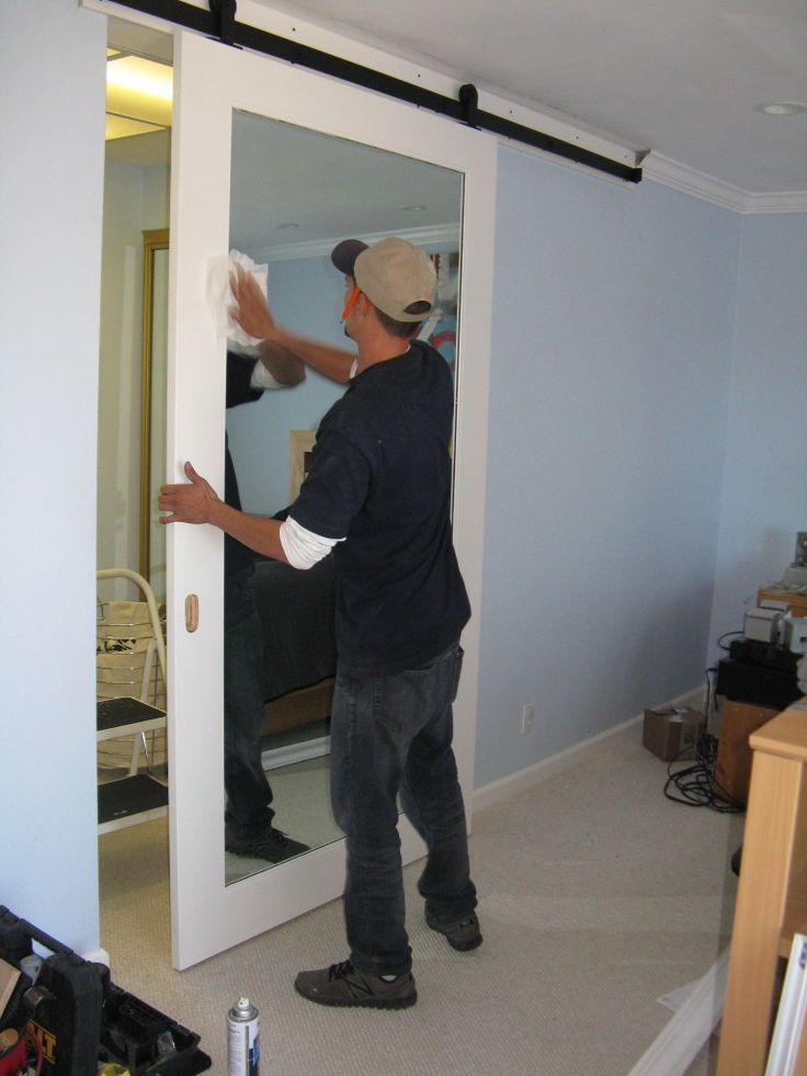 sliding barn door with mirror - Google Search                                                                                                                                                                                 More