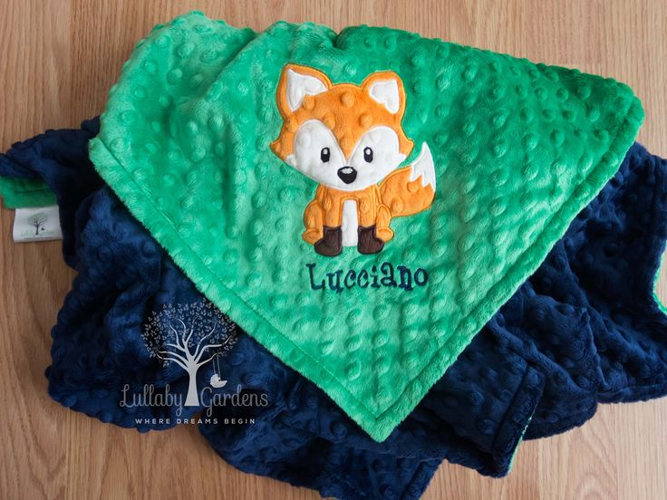 Fox Personalized Minky Baby Blanket, Personalized Baby Blanket, Personalized Baby Gift, Fox Nursery, Fox Appliqued Baby Blanket by LullabyGardens on Etsy