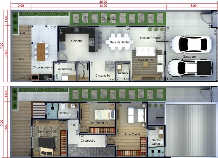 Plano de casa con cocina en el fondo plano para terreno for Casa moderna 7x20