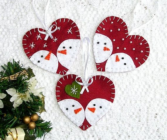 Felt christmas ornaments snowman set of 3 tree by feltgofen