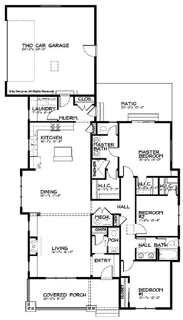 Home Plans HOMEPW24922 - 1,887 Square Feet, 3 Bedroom 2 Bathroom Bungalow Home with 2 Garage Bays