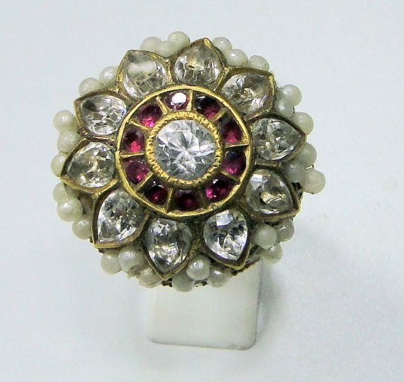 Rare vintage antique 22 ct gold cocktail ring jewelry  by Amrapali, $1499.00
