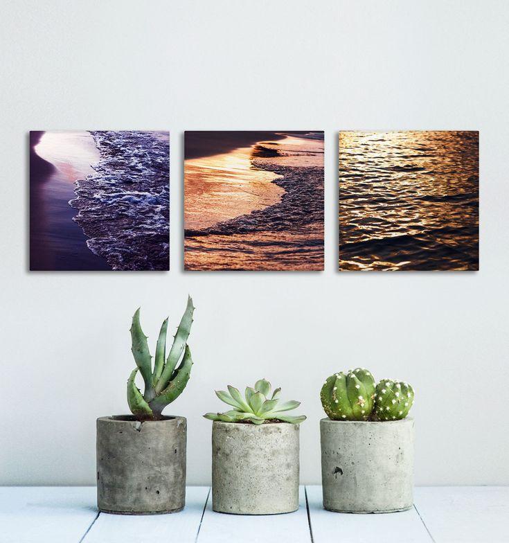 Water Texture Canvas Art, Wall Decoration, Set of 3 Wall Art, Sunset Photography, Beach House Decor, Canvas Prints, Wall Art Panels by Macrografiks on Etsy