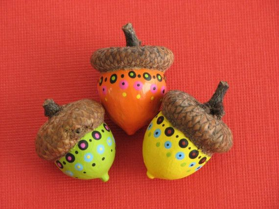 Funky Painted Acorns by sewsewsuckurtoe on Etsy