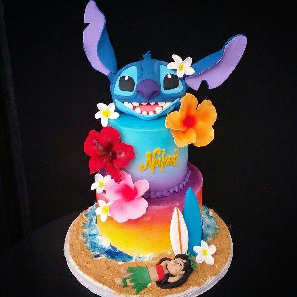 Ohana! Lilo & Stitch party theme. Rice Krispy head and handmade flowers.