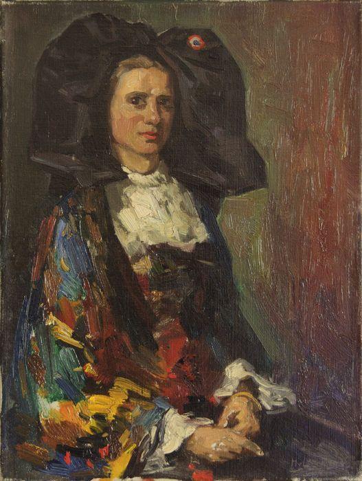 """Portret van een Dame in Elzasser klederdracht   Olieverf op doek – gesigneerd rechts onder met """"HvLeeuwen.vo""""   De afmetingen (H x B) van het doek zijn 40cm x 30,5cm (er is geen lijst). Het schilderij verkeert in prima conditie.  Een bijzonder object voor de verzamelaar! Een portret van een jonge dame in Elzasser klederdracht met omslagdoek, geschilderd in de stijl van de Haagse School. Dit portret is waarschijnlijk rond 1912 op locatie geschilderd door de gerenommeerde meester Hendrik van…"""