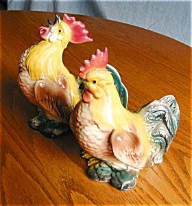 Vintage Rooster & Hen Figurines Ceramic Chicken Farm