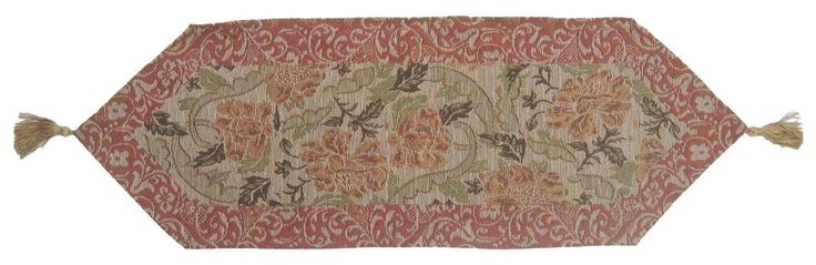 DaDa Bedding Hand-Crafted Nature Garden Floral Tapestry Woven Table Runner, Tan Golden Beige (10072)