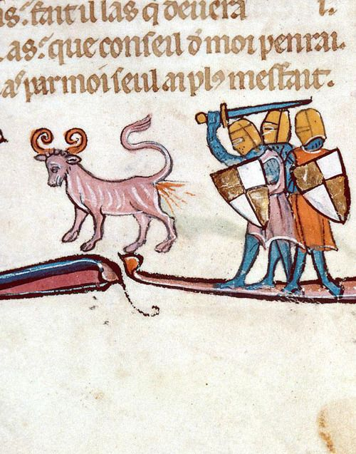 "Besançon, Bibliothèque municipale, 0551, detail of f. 010v (three knights encounter a Bonnacon).   Gautier de Coincy, Les Miracles de Nostre-Dame (3rd quarter of the 13th century). The Bonnacon (also called the Bonacon or the Bonasus) is a mythical animal from Asia. It has curled horns and when startled sprays acidic dung that burns on contact with skin ""like a kind of fire""."