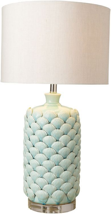 One of our favorite finds for this season, we love this new large 29.5 inch tall Aqua cylinder lamp hand-crafted with layers upon layers of hand crafted ceramic scallop shells creating a fresh coastal design.