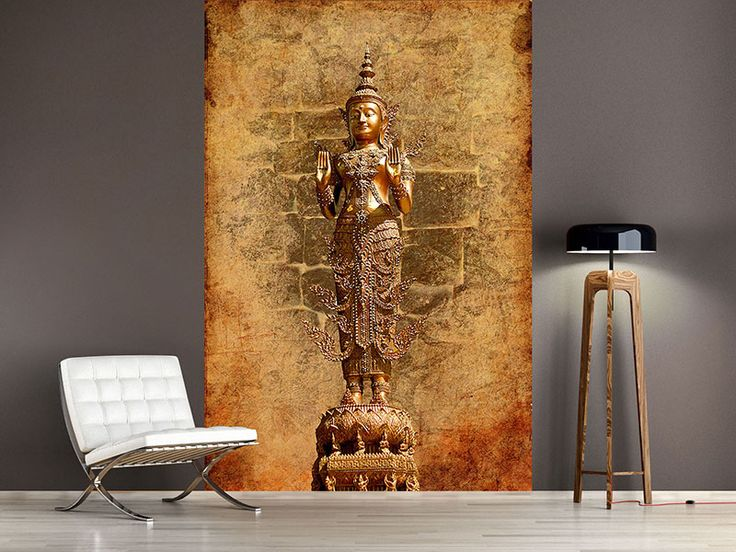 Raumansicht Wohnzimmer Fototapete Goldene Buddha Statue