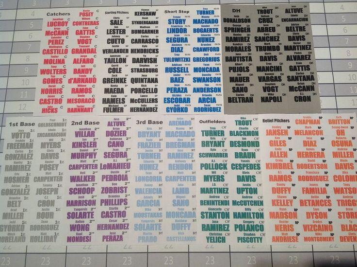 Fantasy Baseball Draft Board Kit Designated Hitters 2017 14 T - 25 R 800+ Labels #ProDraftKits