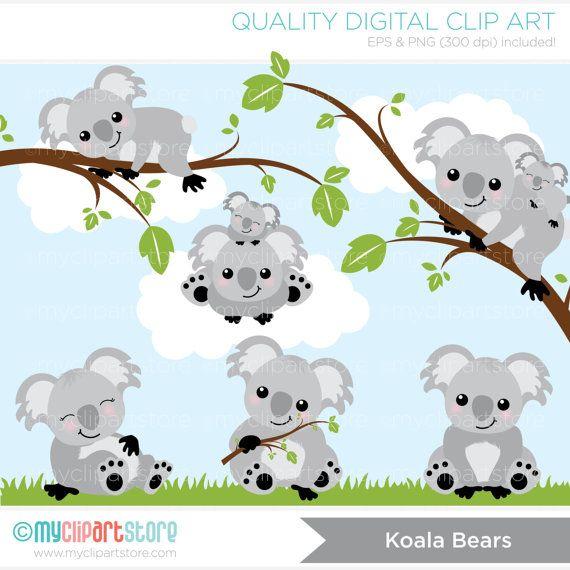 Koala Bears Clip Art / Digital Clipart - Instant Download
