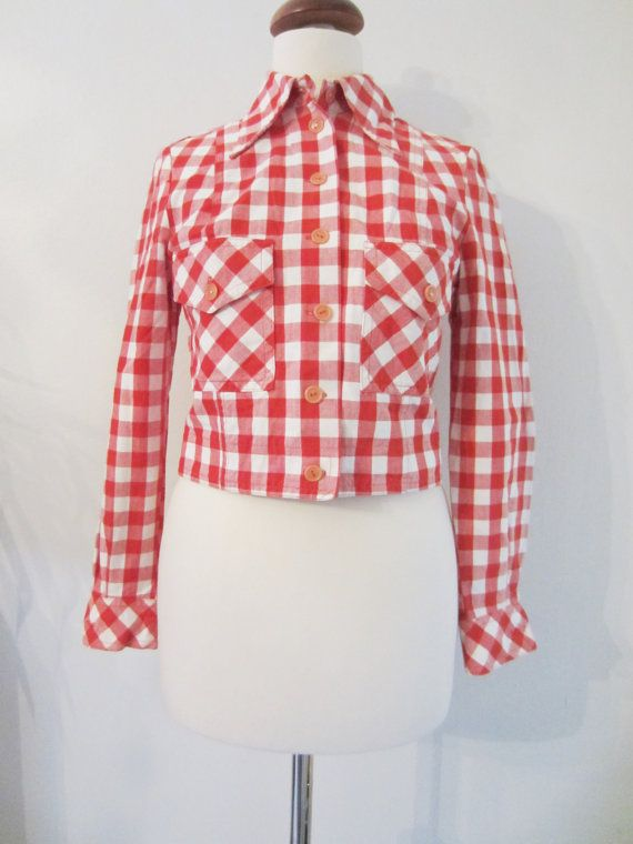 70s Cropped Buffalo Plaid Rockabella Blouse w/ Sailorette Bib Collar by Malli Mari, XS-S // Vintage Crop Jacket