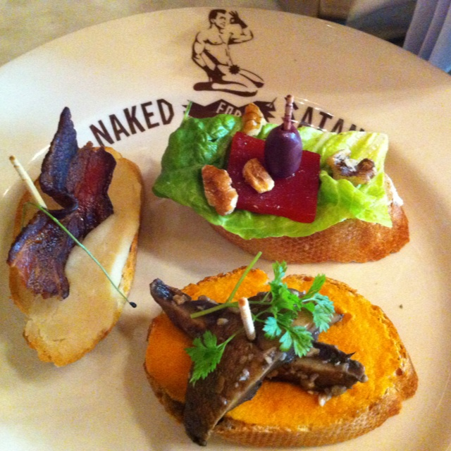 Pintxos $1 each... Save your pix and pay at the bar. Carrot and field mushrooms, blue cheese walnuts with quince and mash potato and bacon! Lunch at Naked Satan Brunswick street, Melbourne