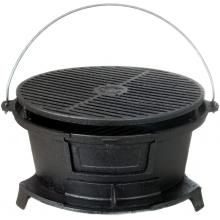 Cajun Cookware Grills Round Seasoned Cast Iron Hibachi Grill : BBQ Guys
