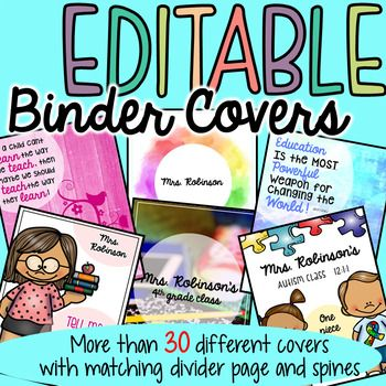 Binder Covers and Spines -Editable. This product has over 30 different, beautifully designed covers with matching spines. Each Cover includes a matching divider page with the ability to add whatever text you would like. All the spines come in 1 inch, 1.5 inch and 2 inch.