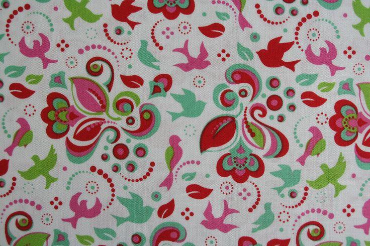 Stoff Blumen - Baumwolle rot-grün Vogelgarten von Tante Ema - ein Designerstück von Lisetta-Design bei DaWanda