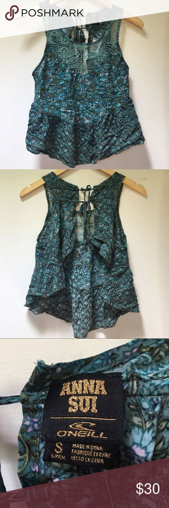 Anna Sui for O'Neill Floral And Crochet Top Anna Sui for O'Neill Floral And Crochet Top. Size small. Very cute! Has an open back. Very flowy. Anna Sui Tops