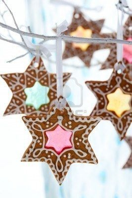 Gingerbread ornaments{inspired} . Make a christmas cookie tree out of branches for the dessert table.