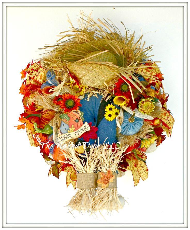 Fall Scarecrow Wreath - Scarecrow Wreath - Scarecrow Decor - Scarecrow Mesh Wreath - Scarecrow Booty - Thanksgiving Wreath - Fall Wreath by TheNakedDoorLLC on Etsy